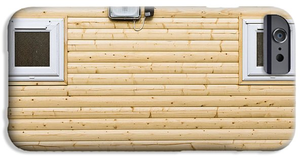 Cabin Window iPhone Cases - Wooden wall iPhone Case by Tom Gowanlock