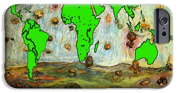 Earth Map Digital Art iPhone Cases - World Map and Earth iPhone Case by Augusta Stylianou