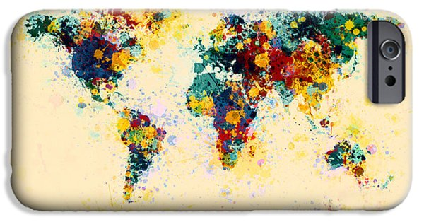 Maps - iPhone Cases - World Map Paint Splashes iPhone Case by Michael Tompsett