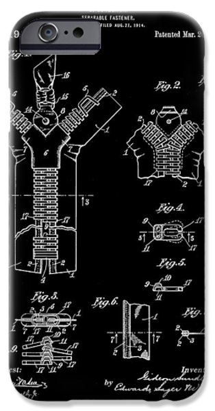 Electrical iPhone Cases - Zipper Patent 1914 - Black iPhone Case by Stephen Younts