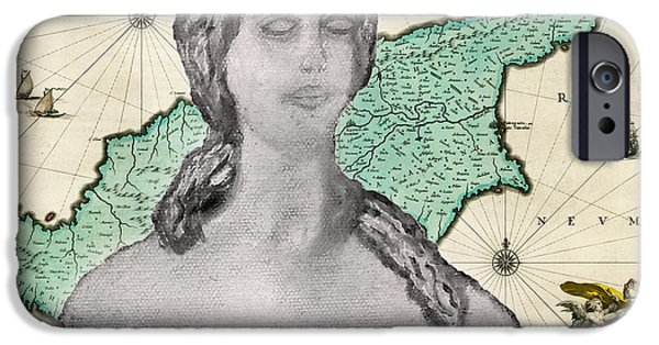 Antique Map Digital Art iPhone Cases - Ancient Cyprus Map and Aphrodite iPhone Case by Augusta Stylianou