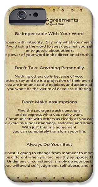 Love Digital Art iPhone Cases - 41- The Four Agreements iPhone Case by Joseph Keane