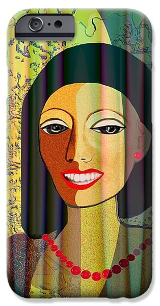 416 - Lady with nice teeth iPhone Case by Irmgard Schoendorf Welch