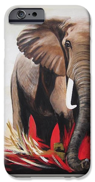 Elephants iPhone Cases - 417 Elephant called Constitution iPhone Case by Sigrid Tune