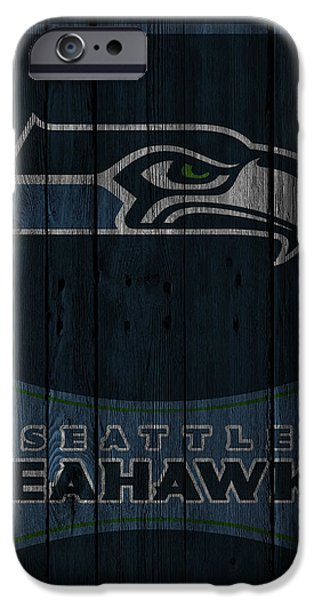 Recently Sold -  - Santa iPhone Cases - Seattle Seahawks iPhone Case by Joe Hamilton