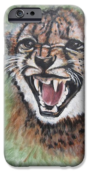Growling iPhone Cases - 420 Growling Baby Cheetah iPhone Case by Sigrid Tune