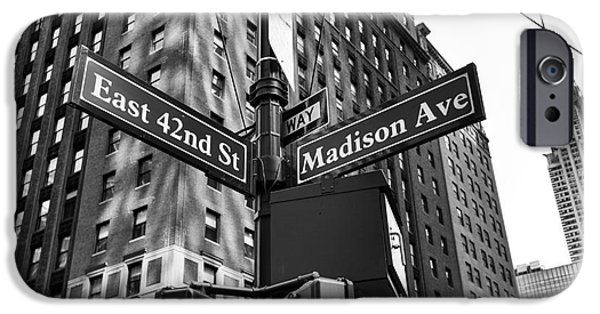 42nd Street iPhone Cases - 42nd St and Madison mono iPhone Case by John Rizzuto