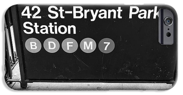 42nd Street iPhone Cases - 42nd St Bryant Park Station mono iPhone Case by John Rizzuto
