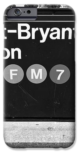 42nd St Bryant Park Station mono iPhone Case by John Rizzuto