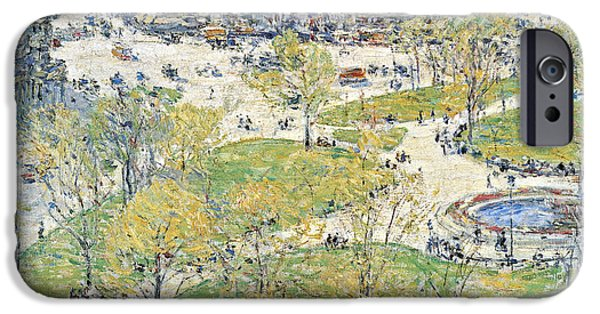 Hassam iPhone Cases - Union Square in Spring iPhone Case by Childe Hassam