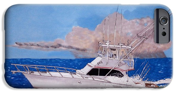 Heading Out iPhone Cases - 43 Foot Post Sportsfisherman iPhone Case by Jack Pumphrey