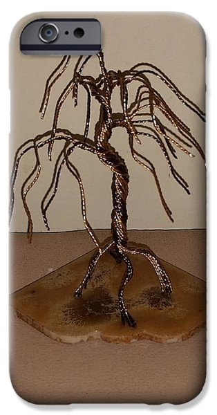 Etc. Pyrography iPhone Cases - #44 Small and Simple Bonsai Tree Wire Sculpture iPhone Case by Ricks  Tree Art