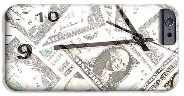 Finance iPhone Cases - Time is money  iPhone Case by Les Cunliffe