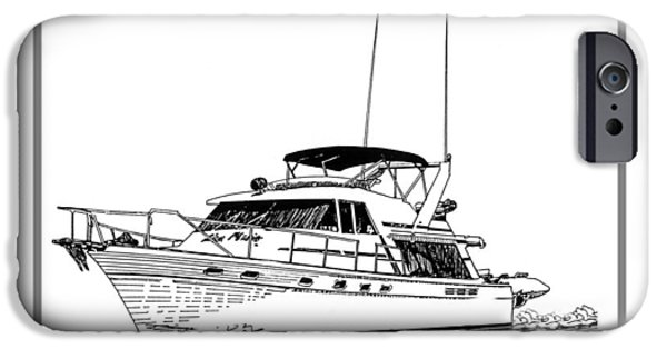 Pen And Ink Photographs iPhone Cases - 45 foot Bayliner Motoryacht iPhone Case by Jack Pumphrey