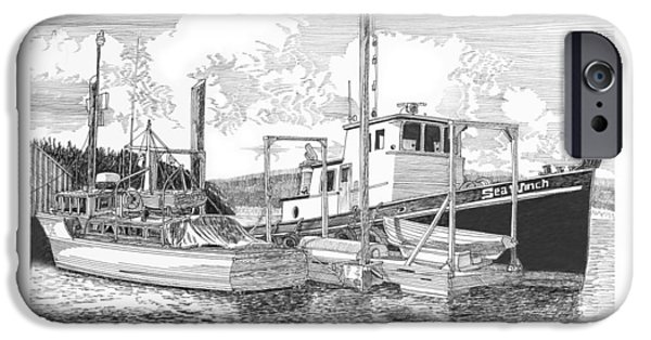 Pleasure Drawings iPhone Cases - 46 foot Stephans Yacht and Tugboat iPhone Case by Jack Pumphrey