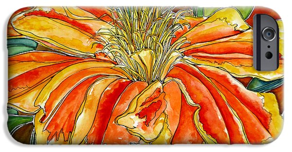 Nature Study Paintings iPhone Cases - 46. Merry-gold iPhone Case by Elaine Wilson