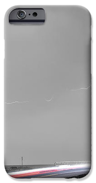 47 Street Lightning Storm Light Trails View Panorama iPhone Case by James BO  Insogna