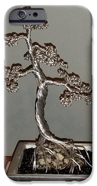 Silver Sculptures iPhone Cases - #49 Mig welding Wire Tree Sculpture iPhone Case by Ricks  Tree Art