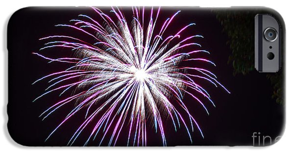 4th Of July iPhone Cases - 4th of July 2014 Fireworks Bridgeport Hill Clarksburg WV 5 iPhone Case by Howard Tenke