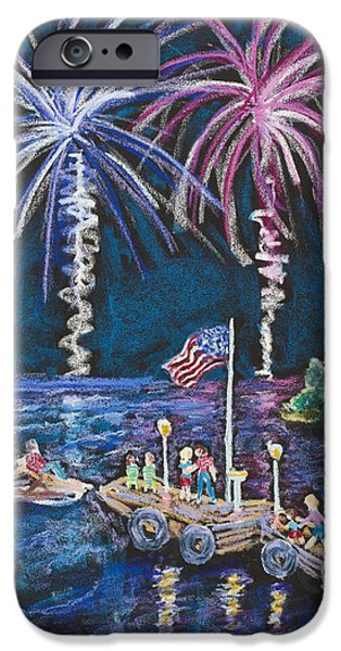 4th July Paintings iPhone Cases - 4th of July - Baileys Harbor iPhone Case by Madonna Siles