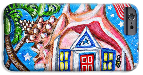 4th July Paintings iPhone Cases - 4th of July Conch House iPhone Case by Abigail White