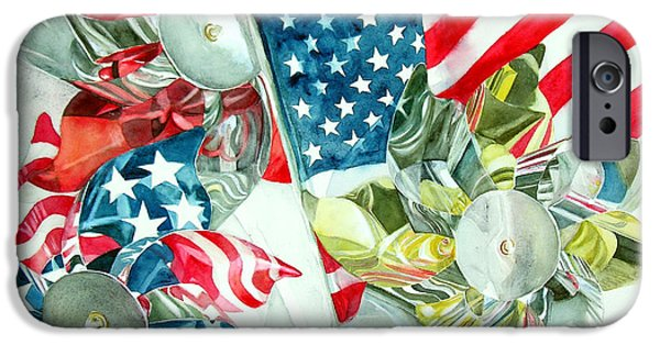 4th July Paintings iPhone Cases - 4th of July iPhone Case by Elizabeth  McRorie