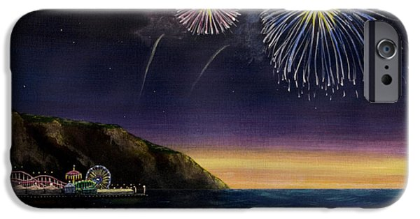 4th July Paintings iPhone Cases - 4th on the Shore iPhone Case by Jack Malloch