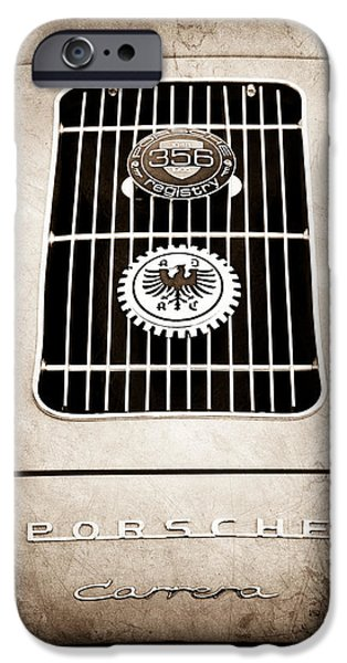 1960 Volkswagen VW Porsche 356 Carrera GS GT Replica Emblem iPhone Case by Jill Reger