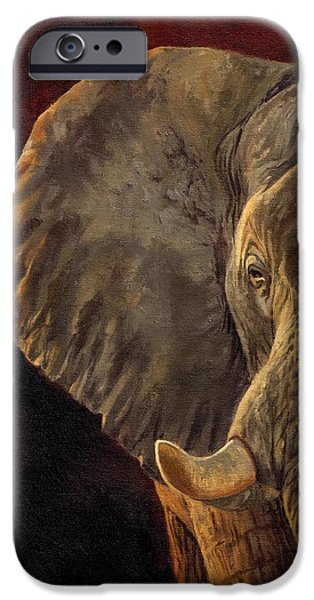 Elephants iPhone Cases - African Elephant iPhone Case by David Stribbling
