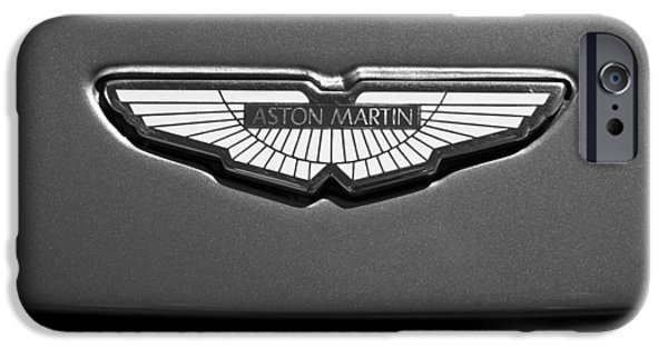 Auto Photography iPhone Cases - Aston Martin Emblem iPhone Case by Jill Reger