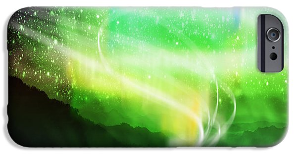 Field. Cloud iPhone Cases - Aurora Borealis iPhone Case by Setsiri Silapasuwanchai
