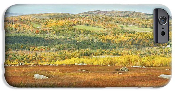 Blue Mountains Red iPhone Cases - Autumn Colors In Maine Blueberry Field And Forest iPhone Case by Keith Webber Jr