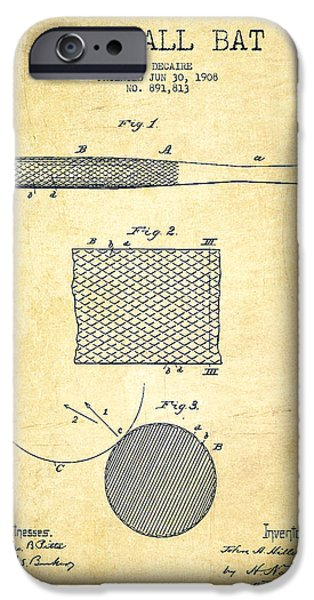 Baseball Glove iPhone Cases - Baseball Bat Patent Drawing From 1904 iPhone Case by Aged Pixel