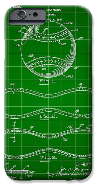 Fast Ball iPhone Cases - Baseball Patent 1927 - Green iPhone Case by Stephen Younts