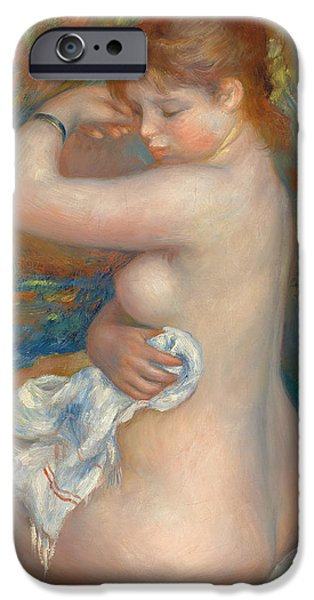 Erotica Paintings iPhone Cases - Bather iPhone Case by Pierre Auguste Renoir