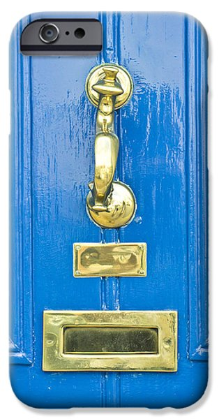 Furniture iPhone Cases - Blue door iPhone Case by Tom Gowanlock