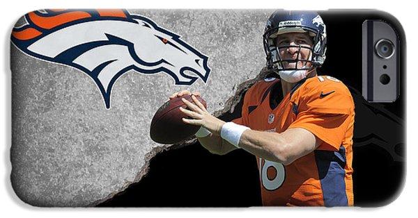 Broncos iPhone Cases - Broncos Peyton Manning iPhone Case by Joe Hamilton