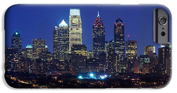 Built Structure iPhone Cases - Buildings Lit Up At Night In A City iPhone Case by Panoramic Images