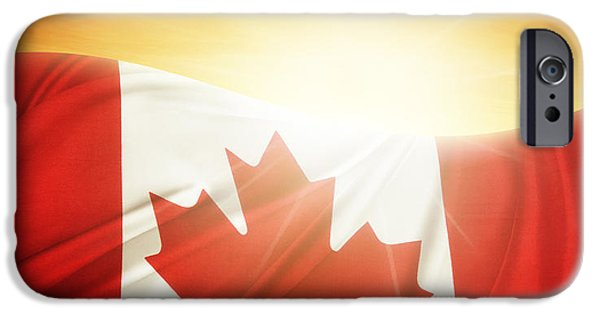 Canada Photograph iPhone Cases - Canadian flag iPhone Case by Les Cunliffe