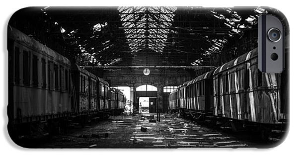 Creepy Pyrography iPhone Cases - Cargo trains in old train depot iPhone Case by Oliver Sved