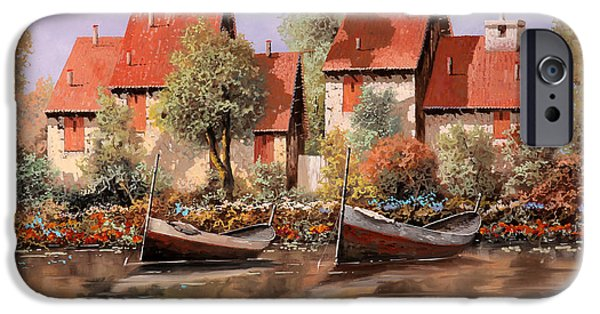 Lake House iPhone Cases - 5 Case E 2 Barche iPhone Case by Guido Borelli