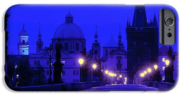Night Lamp iPhone Cases - Charles Bridge, Prague, Czech Republic iPhone Case by Panoramic Images