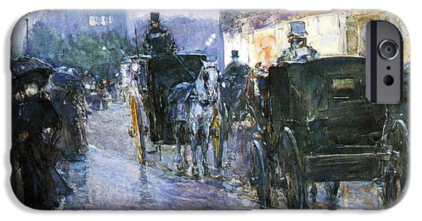 Horse And Buggy iPhone Cases - Horse Drawn Cabs at Evening iPhone Case by Childe Hassam