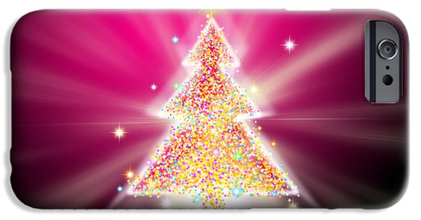 Backdrop iPhone Cases - Christmas Tree iPhone Case by Atiketta Sangasaeng