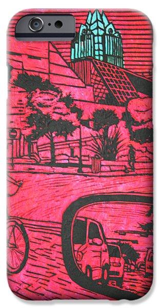 Lino Drawings iPhone Cases - City Hall iPhone Case by William Cauthern