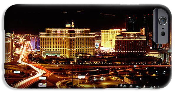 High Angle iPhone Cases - City Lit Up At Night, Las Vegas iPhone Case by Panoramic Images