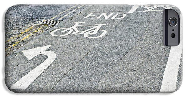 Asphalt iPhone Cases - Cycle path iPhone Case by Tom Gowanlock
