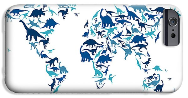 World Map Poster Digital Art iPhone Cases - Dinosaur Map of the World Map iPhone Case by Michael Tompsett