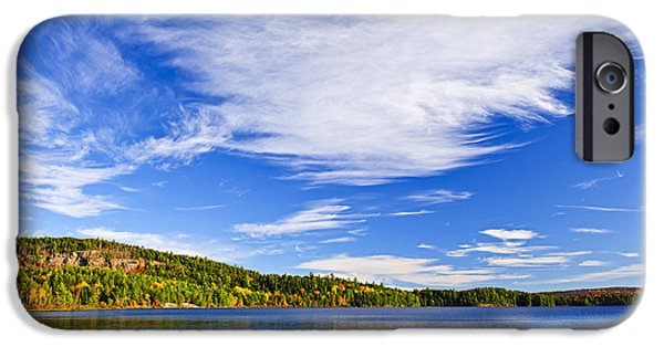 Algonquin iPhone Cases - Fall forest and lake iPhone Case by Elena Elisseeva