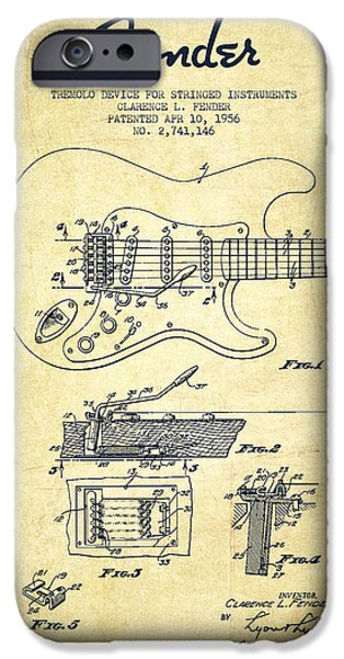 Recently Sold -  - Antiques iPhone Cases - Fender Tremolo Device patent Drawing from 1956 iPhone Case by Aged Pixel
